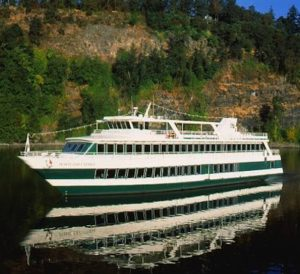 The Portland Spirit near Elk Rock Island on the Williamette River. Portland Spirit River Cruises photo.