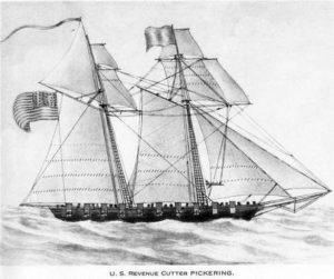The original U.S. revenue cutter Pickering, a 58' brig, was built in 1798 and captured five vessels during the undeclared Quasi-War with France. Coast Guard image.