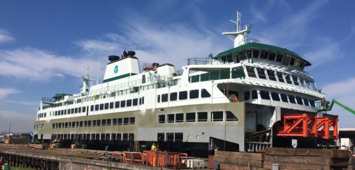 The superstructure for WSF's new ferry, the Suquamish, at the Jesse Co. fabrication facility at Tacoma, Wash. Jesse Co. photo.