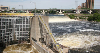 The Upper St. Anthony Falls lock and dam in Minneapolis. National Park Service photo.