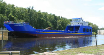 New 190' landing craft ready for work in the Bahamas. St. Johns Ship Building photo