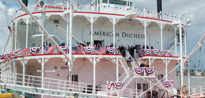 American Queen Steamboat's newest vessel at the dock in New Orleans. Ken Hocke photo