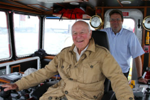 The original Capt. Brian A. McAllister at the controls of his namesake. McAllister Towing photo