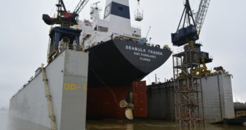 Among World Marine of Alabama's assets is a Panamax capacity drydock. World Marine of Alabama photo