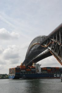 The 984', 6,540 TEU containership CMA CGM Nerval paases the Bayonne Bridge before the original 151' high road deck was removed, in September 2016. Kirk Moore photo.
