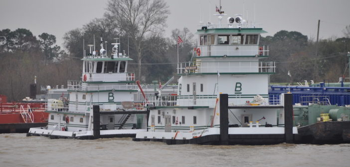 Blessey Marine towboats on the Lower Mississippi River. Photo by David Krapf