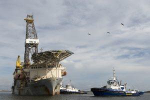 The drillship Paragon DPDS1 was recovered from Aransas Pass Sunday. Coast Guard photo/PO2 Cory Mendenhall