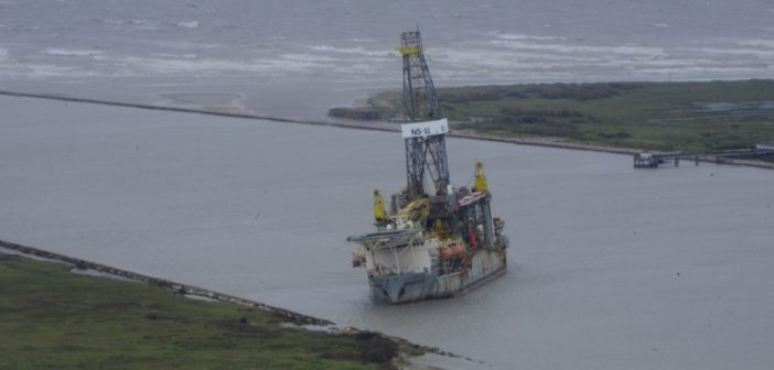 The drillship Paragon DPDS1 grounded in the Port Aransas Channel during Hurricane Harvey. U.S. Coast Guard photo