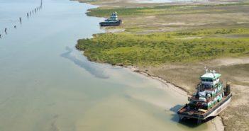 Towboats left aground by Hurricane Harvey near Corpus Christi. Coast Guard photo/PO2 Cory Mendenhall