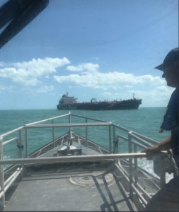 A fuel tanker was the first vessel to call at a reopened Port Canaveral, Fla, Tuesday. Canaveral Pilots photo.