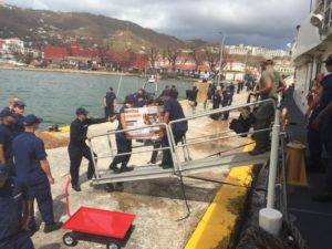 The crew of the Coast Guard cutter Joseph Tezanos offloads a generator and other supplies at St. Thomas after Hurricane Irma, Sept. 10, 2017. Coast Guard photo/CPO Crystalynn McKeen