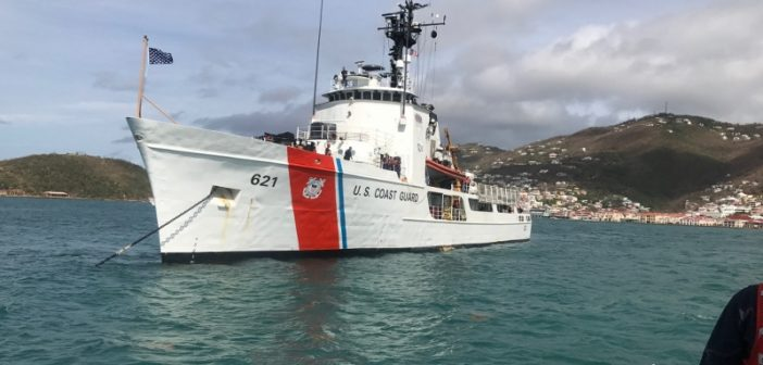 The medium endurance cutter Valiant is one of four Coast Guard cutters deployed to help relief efforts in the U.S. Virgin Islands. Coast Guard photo.