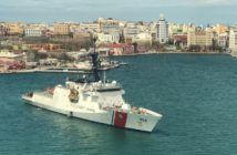 The Coast Guard cutter James is stationed as a command and control platform in San Juan harbor. Coast Guard photo.
