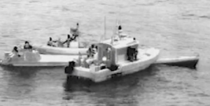 A low-profile drug smuggling boat intercepted by the Coast Guard in the Eastern Pacific June 22, 2017. Coast Guard video image.