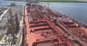 Crowley's 330,000-bbl. MT Florida was one of the first tankers to bring fuel into the Port of Tampa on Tuesday, Sept. 12. Photo courtesy of Crowley Maritime