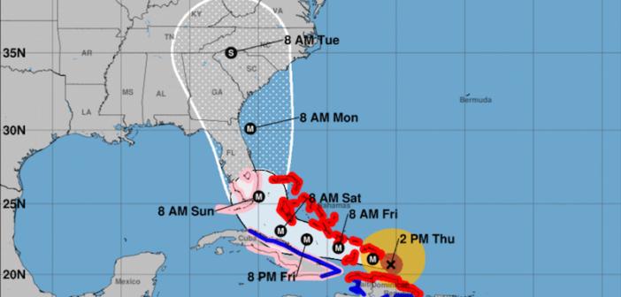 NOAA's 2 p.m. Thursday Hurricane Irma update. Image courtesy of NOAA
