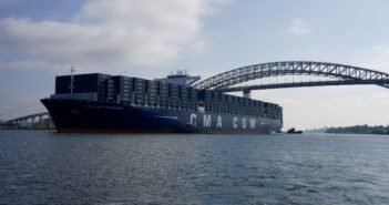 The containership CMA CGM T. Roosevelt minutes after passing under the bayonne Bridge en route to Port Elizabeth, N.J., Sept. 7, 2017. Coast Guard photo/PO1 Sabrina Clarke.