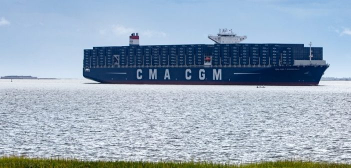 The containership CMA CGM Theodore Roosevelt approached Charleston, S.C., Sept. 14, 2017. South Carolina Ports Authority photo.
