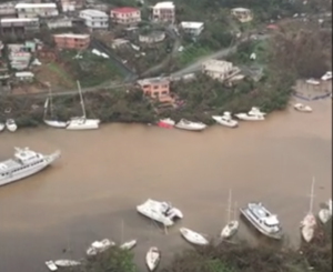 A Coast Guard aircrew surveyed St. Thomas harbor areas after Hurricane Irma. Coast Guard video still/PO1 Luke Clayton
