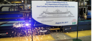 First steel is cut for a new Staten Island ferry at Eastern Shipbuilding Group. ESG photo.