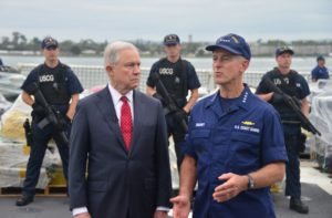 U.S. Attorney General Jeff Sessions and Coast Guard Commandant Adm. Paul Zukunft at an offloading of seized drugs in San Diego Sept. 20, 2017. Coast Guard photo.