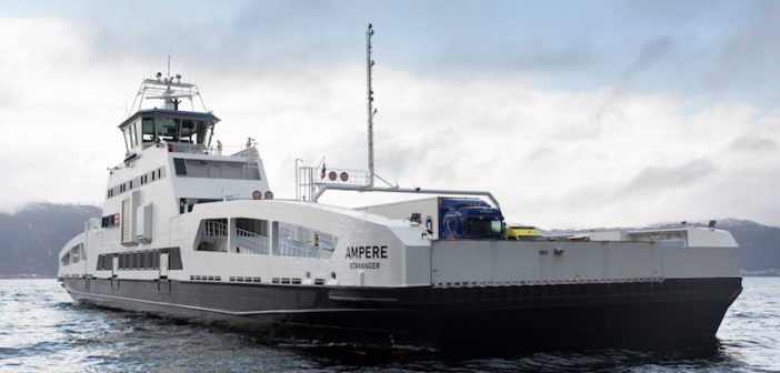 The first electric car and passenger ferry in the world, equipped by Siemens in cooperation with shipbuilder Fjellstrand, went into operation in 2015. With three battery packs, one on board and one at each pier, it functions completely emission free. Photo courtesy of Siemens