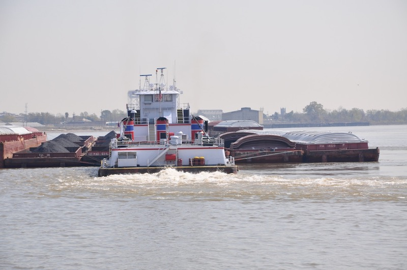 Coal in a mixed tow on the Mississippi. Photo by David Krapf