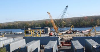 Cargo and cranes at the Port of Coeymans Marine Terminal. Kirk Moore photo.