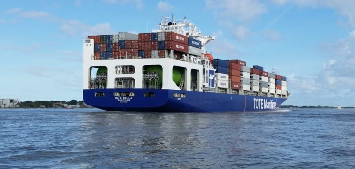TOTE Maritime's Isla Bella is among the U.S. flag vessels carrying relief supplies to Puerto Rico. TOTE photo.