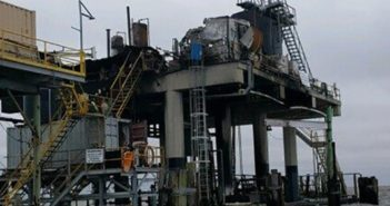 An explosion and fire Saturday on an oil platform near Kenner, La., left seven workers injured and one missing. City of Kenner photo.