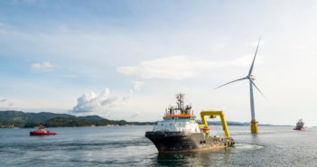 The final floating wind turbine for the Statoil Hywind project is towed from Norway toward Scotland. Statoil photo.