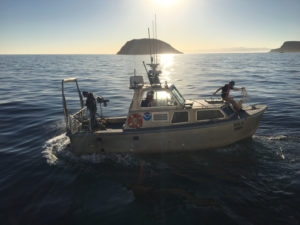 A NOAA survey launch at work near the Channel Islands. NOAA photo.