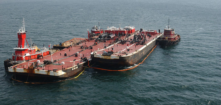 The barge B. No. 120 is shown as its cargo of No. 6 fuel oil was offloaded after the April 27, 2003 grounding in Buzzards Bay. NOAA photo.