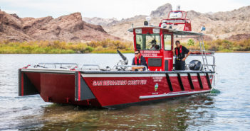 Lake Assault Boats, has placed two fire and rescue boats into service with the San Bernardino County Fire Department in California. The landing craft style vessels – one 28' and the other 26' – are equipped to handle a wide range of emergency response scenarios. Shown here is the 28' craft. Photo courtesy of Brandon Barsugli of the San Bernardino County Fire Department.