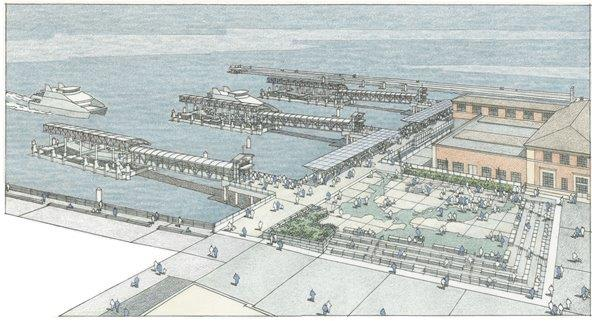 Artist's rendering of the San Francisco Ferry Expansion Project. ROMA Design Group rendering