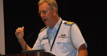 Coast Guard Capt. Austin Gould spoke at the opening of the International WorkBoat Show Wednesday in New Orleans. Kirk Moore photo.