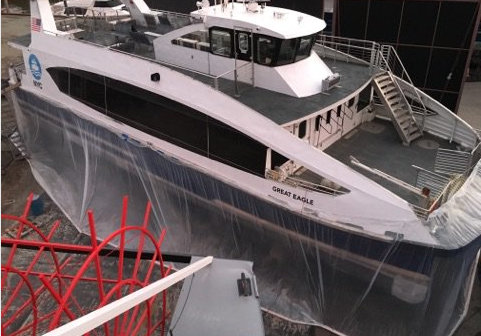 An NYC Ferry vessel hauled out for keel cooler repairs. NYEDC photo.