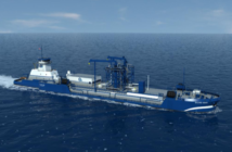 Artist's rendering of a new 4,000-cubic-meter liquified natural gas ATB design from Harvey Gulf. Harvey Gulf rendering.