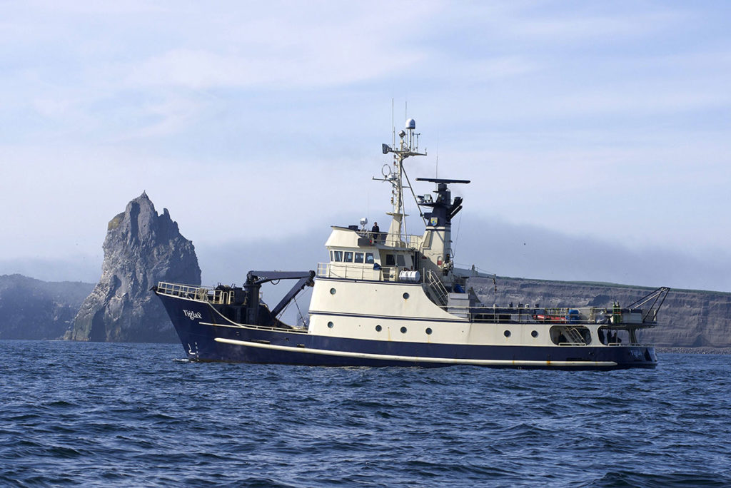 The research vessel Tiglax carries scientists on annual surveys in the Alaska Maritime National Wildlife Refuge. U.S. Fish and Wildlife Service photo.