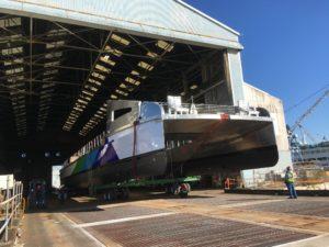 The catamaran hull for a third San Francisco Bay Ferry at Vigor Industrial's Harbor Island facility. Vigor Industrial photo.
