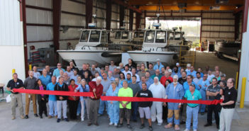 The new 10,500-sq. ft. large boat assembly building has already been put to use. Brunswick photo