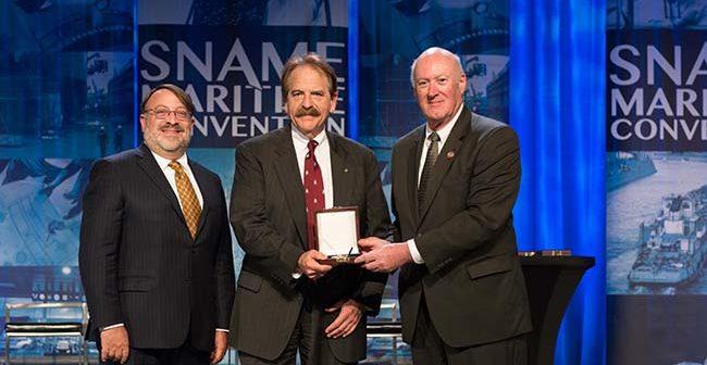 Bruce S. Rosenblatt, past president, SNAME; Dr. John C. Daidola, PE; and Martin Toyen, SNAME photo