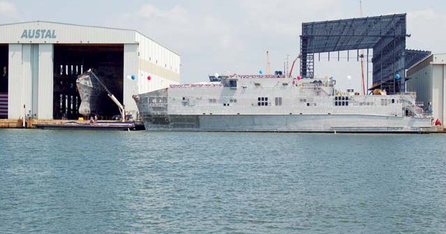 Austal delivered expeditionary fast transport vessel (EFP 9) to the Navy today. WorkBoat file photo