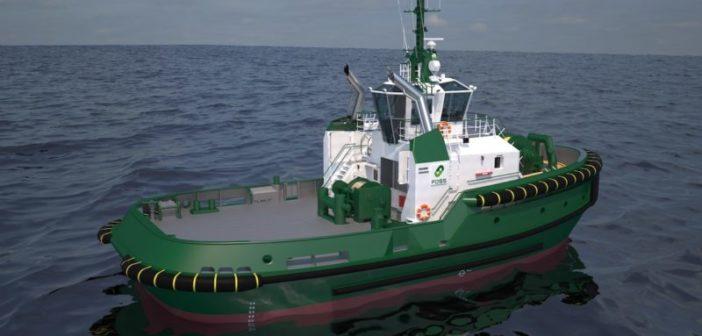 A rendering of the Damen ASD 2813 tugboat design. Damen Shipyards image.