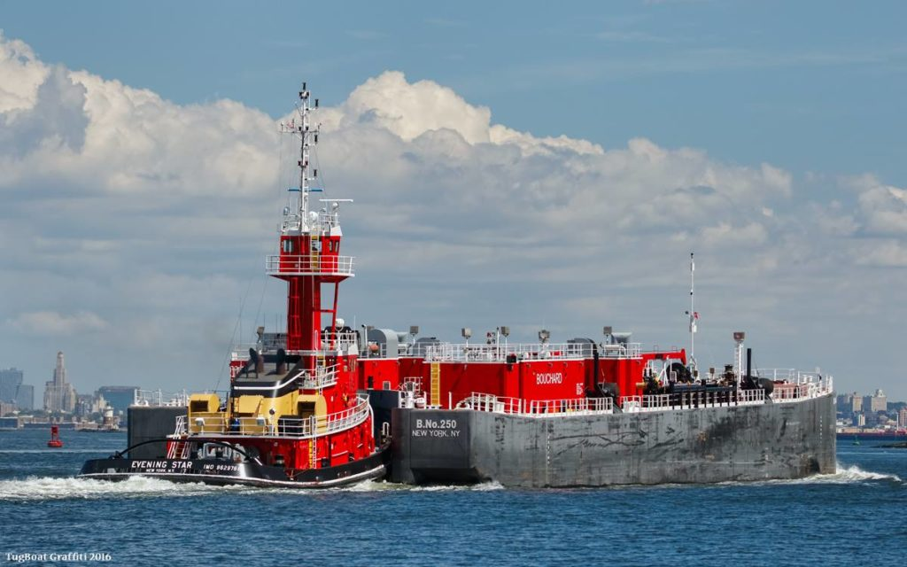 The next ATB tug under construction for Bouchard Transportation will be a sister ship to the Evening Star, pictured here in August 2015. Bouchard Transportation photo.