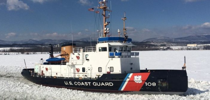 The Coast Guard cutter Thunder Bay breaks ice in the Hudson River near Catskill, N.Y., in March 2015. Coast Guard photo/Lt. Ken Sauerbrunn.