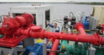 University of Maryland scientist Mario Tamburri with a ballast water treatment platform. UMCES photo/Amy Pelsinsky