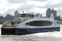 The NYC Ferry H201 (now Flyer) a few weeks after entering service on the Wall Street-Rockaway run in May 2017. Kirk Moore photo.