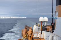 The crew of the Coast Guard Cutter Polar Star transits past the Ross Ice Shelf prior to departing Antarctica, Feb. 9, 2017. The Polar Star's crew conducted icebreaking operations in the frozen Ross Sea for cargo vessels to resupply the National Science Foundation's research stations in Antarctica. Coast Guard photo by Chief Petty officer David Mosley
