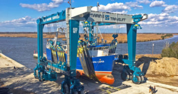The 820-metric-ton Marine Travelift boat hoist at Yank Marine gets its first workout with the fishing vessel Pacific Capes in November 2017. Marine Travelift photo